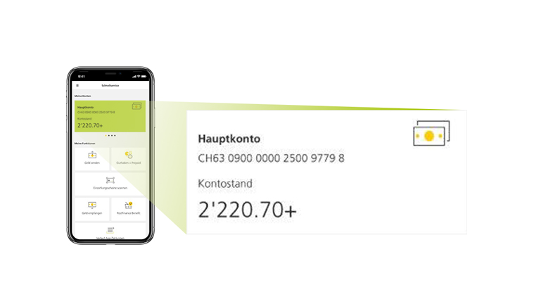 Picture of a smartphone showing users how to tap on the account balance in the PostFinance App fast service.