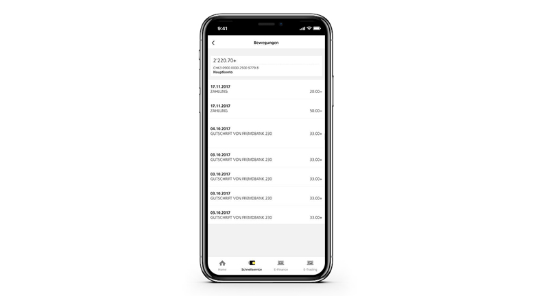 "Picture of a smartphone showing how other accounts can be added to the overview in the PostFinance App fast service by clicking on ""Settings"" and ""Manage accounts""."