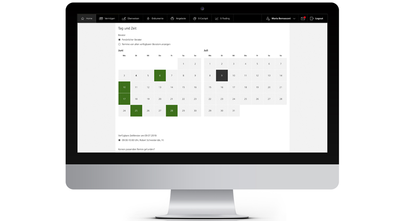 Picture of a desktop showing users how to select a date, time and advisor for a consultation in e-finance from PostFinance.