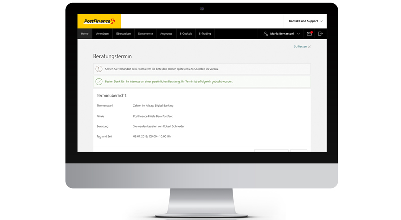 Picture of a desktop showing how an appointment for a consultation can be definitively booked in e-finance from PostFinance.