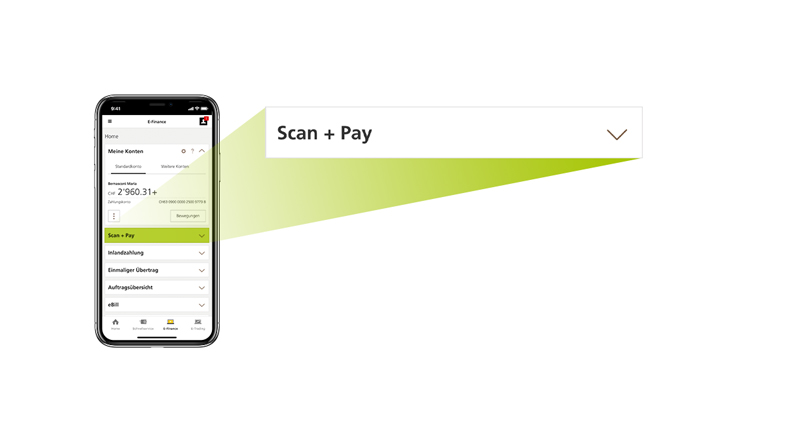 "Picture of a mobile screen showing users how to tap on the ""Scan inpayment slips"" tile in the PostFinance App and scan the code line of an inpayment slip."