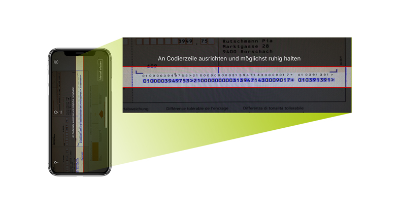 Picture of a mobile screen showing users how to confirm a payment and enter the information required in the PostFinance App.