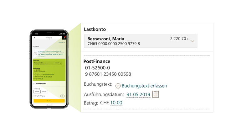 Picture of a mobile screen showing users how to change a payment in the PostFinance App.