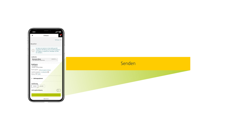 "Picture of a mobile screen showing users how to make a payment via the ""Send"" button in the PostFinance App."
