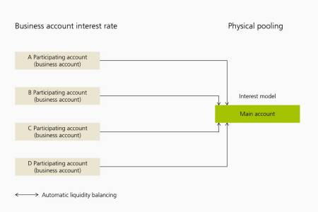 With physical pooling, the participating accounts each earn interest at the business account interest rate. An interest rate model is set up in the main account. Automatic liquidity balancing is possible between the accounts participating in the pooling and the main account. Liquidity balancing involves money being transferred between the participating accounts and the main account.