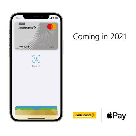 Coming in 2021, Logo PostFinance, Logo Apple Pay